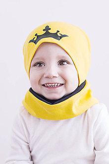 Detské súpravy - Čiapka+ nákrčník Princ & žltá +čierna - 9306427_