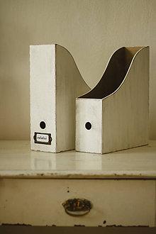 Nádoby - Drevený zakladač (Biely s patinou) - 9304205_