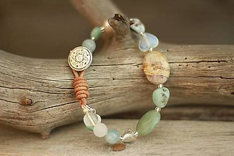 Náramky - Boho náramok z minerálov larimar, akvamarín, perly, krištáľ - 9303087_