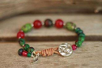 Náramky - Boho náramok z minerálov zoisit, achát, jadeit - 9303976_