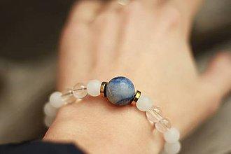 Náramky - Náramok z minerálov modrý aventurín, krištáľ, jadeit - 9304576_