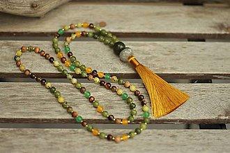 Náhrdelníky - Mala náhrdelník z minerálov jaspis, jadeit, tigrie oko - 9304904_