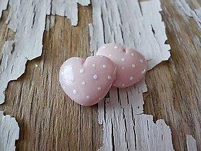 Náušnice - MiNi bodkované srdiečka-napichovačky (ružové) - 9306332_