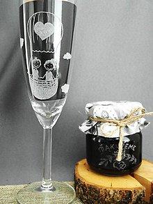 Nádoby - Gravírovaný pohár, postavičky v balóne - 9308702_