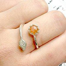 Prstene - Simple Leaf Silver Gemstone Ring Ag925 / Strieborný prsteň s minerálom /0436 (Peach Moonstone / Broskyňový mesačný kameň fazetovaný) - 9308368_