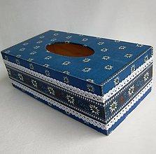 Krabičky - Krabica na papierové vreckovky -modrá čipková - 9308036_