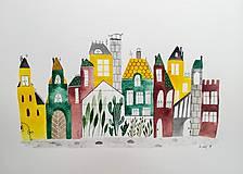 Obrazy - Mesto urban  ilustrácia / originál maľba - 9308406_