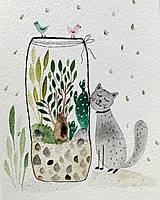 - Mačky pohľadnica ilustrácia / originál maľba  - 9308593_