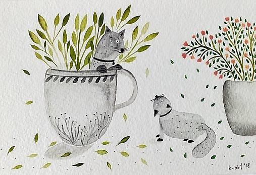 Mačky pohľadnica  ilustrácia / originál maľba