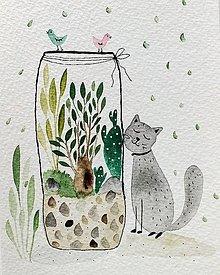 Papiernictvo - Mačky pohľadnica ilustrácia / originál maľba  - 9308593_
