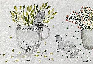 Papiernictvo - Mačky pohľadnica  ilustrácia / originál maľba - 9308596_