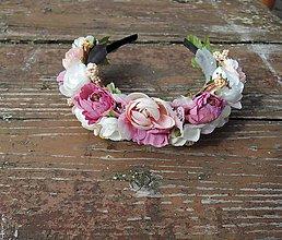 Ozdoby do vlasov - Čelenka ružová - 9307265_