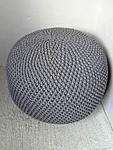Úžitkový textil - Háčkovaný PUF tmavošedý bavlna 50-55cm - 9308077_