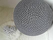 Úžitkový textil - Háčkovaný PUF tmavošedý bavlna - 9309175_
