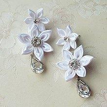Náušnice - Kanzashi - svadobné náušnice - 9310662_