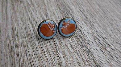 Náušnice - Napichovačky 13mm,farebné (Líštičky napichovačky bronz č. 1889) - 9309976_