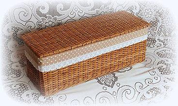 Košíky - Košík hnedý s vrchnákom - 9309395_