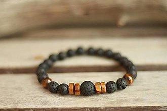 Šperky - Pánsky náramok z minerálu láva, tigrie oko - 9307538_