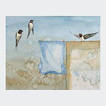 Obrazy - Výuka létání - originál, akvarel - 9307828_