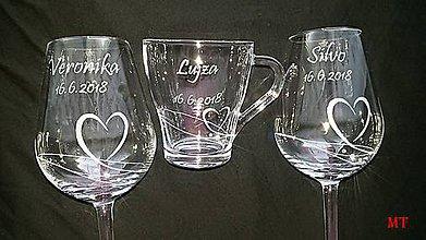 Nádoby - Svadobné poháre + pohár pre družičku - 9315032_