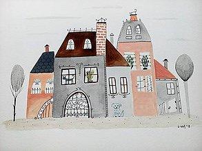 Obrazy - Mesto 34 ilustrácia  / originál maľba  - 9314213_