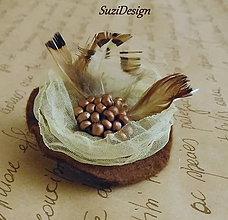 Odznaky/Brošne - poľovnícka brož ruža bažantie pierko - 9314219_