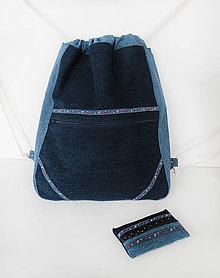 Batohy - Džínsový batoh s folklórnym motívom + puzdro - 9314242_