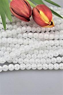 Minerály - AKCIA!!! krištál korálky 8mm - celá šnúra (cca 48 ks korálok, praskaný krištál), cena za 1ks korálku 0,10 eur!!! - 9314187_