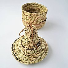Krabičky - Pletený košík zdobený kožou s vekom - 9313789_
