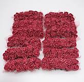 KT101 Penové ružičky s perličkou 2 cm / 12 kusov (Vínovo červená)