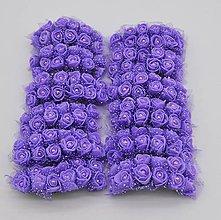 Polotovary - KT101 Penové ružičky s perličkou 2 cm / 12 kusov (Fialová) - 9313109_