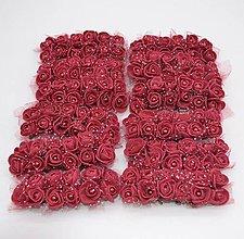 Polotovary - KT101 Penové ružičky s perličkou 2 cm / 12 kusov (Vínovo červená) - 9313114_