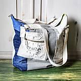 Veľké tašky - Ľanovo-denimová taška - 9313527_