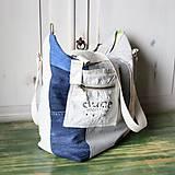 Veľké tašky - Ľanovo-denimová taška - 9313529_