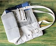 Veľké tašky - Ľanovo-denimová taška - 9313531_