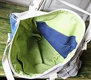 Veľké tašky - Ľanovo-denimová taška - 9313534_