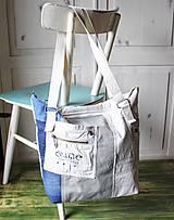Veľké tašky - Ľanovo-denimová taška - 9313535_