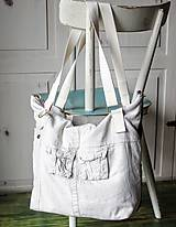 Veľké tašky - Ľanovo-denimová taška - 9313536_
