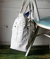 Veľké tašky - Ľanovo-denimová taška - 9313537_