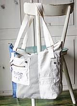 Veľké tašky - Ľanovo-denimová taška - 9313539_