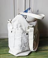 Veľké tašky - Ľanovo-denimová taška - 9313550_