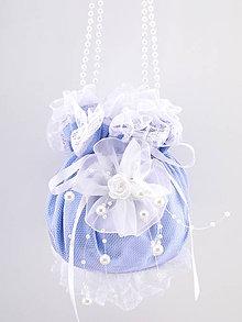 Kabelky - Pompadúrka čipková, kabelka pre nevestu modrá S1 - 9315578_