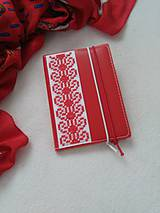 Papiernictvo - Zčervená (vyšívaný zápisník) - 9316385_