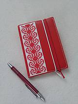 Papiernictvo - Zčervená (vyšívaný zápisník) - 9316386_