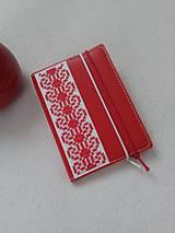 Papiernictvo - Zčervená (vyšívaný zápisník) - 9316387_