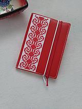 Papiernictvo - Zčervená (vyšívaný zápisník) - 9316389_
