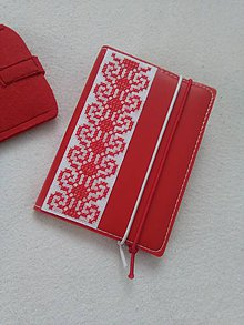 Papiernictvo - Zčervená (vyšívaný zápisník) - 9316384_