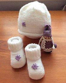 Detské súpravy - pletená súprava fialový kvietok - 9317649_