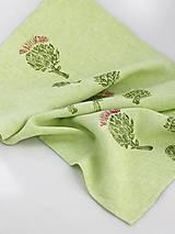Úžitkový textil - Zelený ľanový obrus s ručnou potlačou