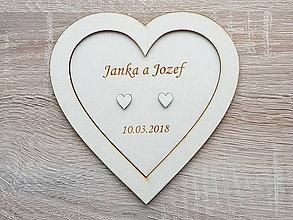 Prstene - Podnos pod svadobné obrúčky s menami - 9316219_
